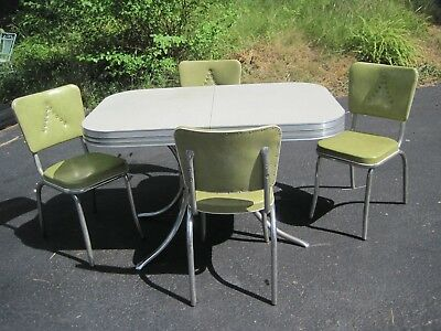 1950's Art Deco Original Retro Chrome Dinette Kitchen Table & 4 Green Chairs