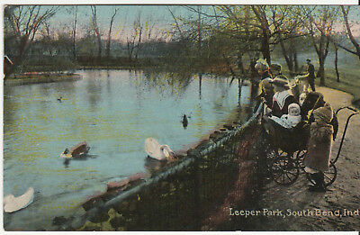Postcard - Historic Leeper Park Duck Pond c. 1910 South Bend, IN