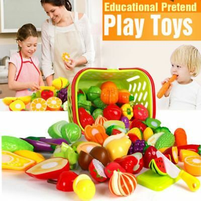 House Plastic Fruit Vegetable Simulation Food Kitchen Pretend Play Cutting Toy