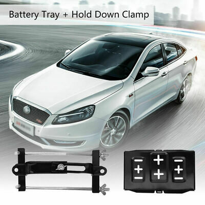 Universal Metal Car Battery Tray Adjustable Hold Down Clamp Kit Metal 34.2x20cm