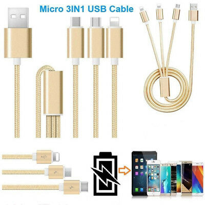 New 3 In 1 For IOS Android Type-c Nylon Braided USB Data Charger Charging Cable