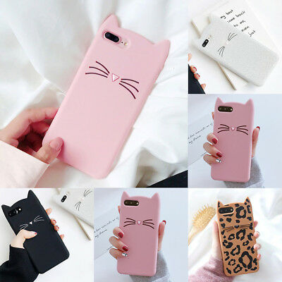 Cute Cartoon Cat Ear TPU Gel Silicone Protective Case Cover For iPhone 8 Samsung