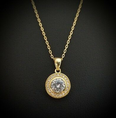 Women 14k Yellow Gold Sterling Silver Round Diamond Solitaire Pendant Necklace