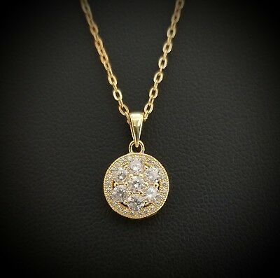 Women 14k Yellow Gold Over Sterling Silver Round Diamond Flower Halo Necklace