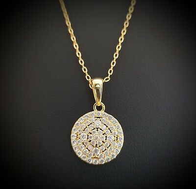 Women 14k Yellow Gold Sterling Silver Round Diamond Flower Pendant Necklace