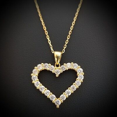 Women 14k Yellow Gold Over Sterling Silver Round Diamond Heart Pendant Necklace