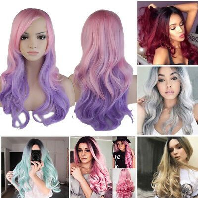 "20-23"" Women Long Hair Full Wig Natural Curly Wavy Straight Synthetic Hair Wigs"