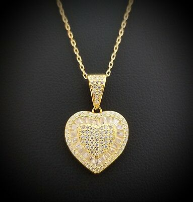 14k Yellow Gold Sterling Silver Baguette White Diamond Heart Pendant Necklace