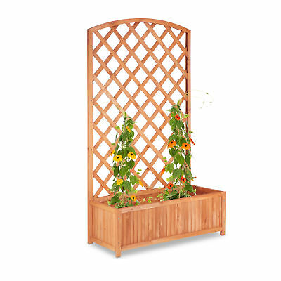 Large Wooden Planter Box with Trellis, Lattice and Flowerpot, Growing Aid