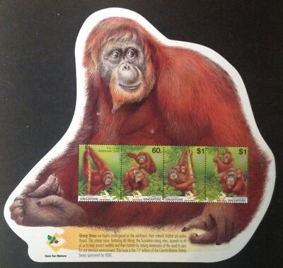 Singapore 2001 Orangutan Monkey Mini Sheet With 4 Stamps Mint Mnh