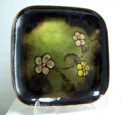 Vtg Mid Century Modern Large Copper Enameled Floral Plate Tray 1960's Hand Made