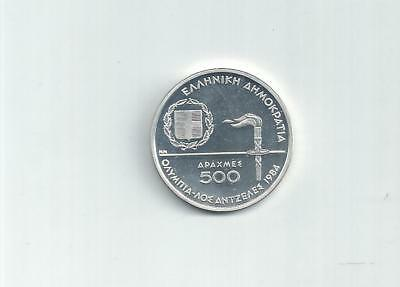 Greece Greek  Coin 500 Draxmes Olympic Games Los Angeles 1984