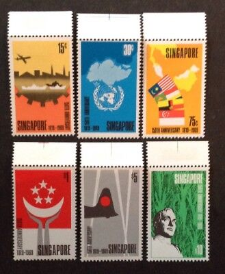 Singapore 1969 150th Anniversary Of Singapore Set Of 6 With Top Margin Mint Mnh
