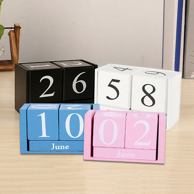 Vintage Wooden Block Perpetual Calendar Retro Any Year / Month / Day Calendar