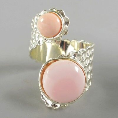 Size 8.5 Natural Pink Opal Bezel Ring Silver Plated B074134