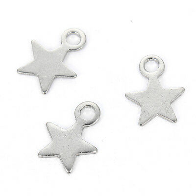 20X Silver Five-Pointed Star Stainless Steel Charm Pendant DIY Jewelry Making