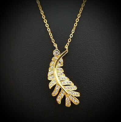 14k Yellow Gold Over Sterling Silver Round  Diamond Long Leaf Pendant Necklace
