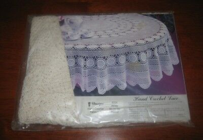 Vintage Hand Crocheted Lace Tablecloth ~ White ~ Round ~ New