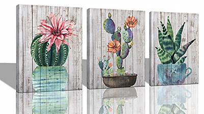 Canvas Wall Art Prints Watercolor Ball Cactus Cacti Green Plants and Flower 3