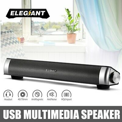 ELEGIANT Audio Sound Bar Soundbar USB Multimedia Speaker Fr TV PC Laptop AU Gift