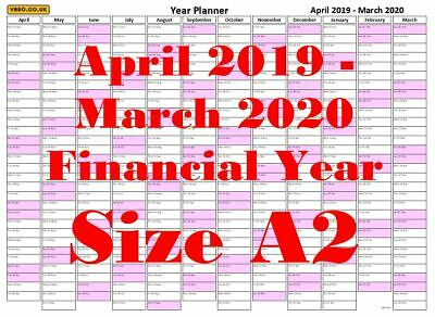 A2 Aqua Landscape  Financial year planner Apr 2018 Mar 2019 Wall Calendar