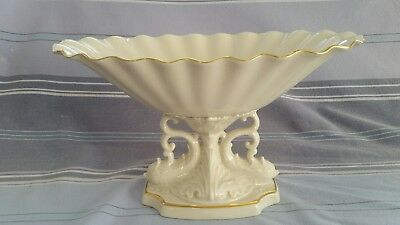 Vintage LENOX China Aquarius Oval Pedestal Bowl Dolphin 24K gold trim