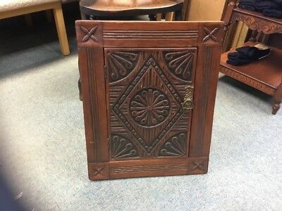Antique Wooden Small Carved Fronted Corner Cabinet With Shelf