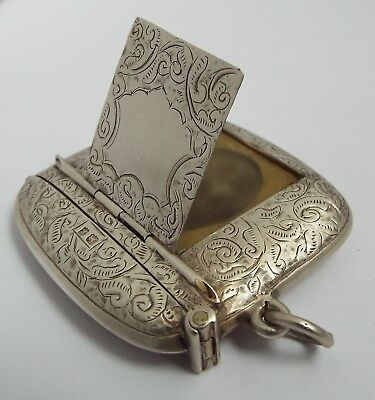 Nice Rare English Antique 1906 Sterling Silver Vesta Case With Photo Compartment