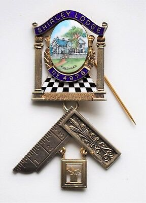 Fine Masonic silver and enamel jewel: Shirley Lodge, Fieldhead No. 4978.