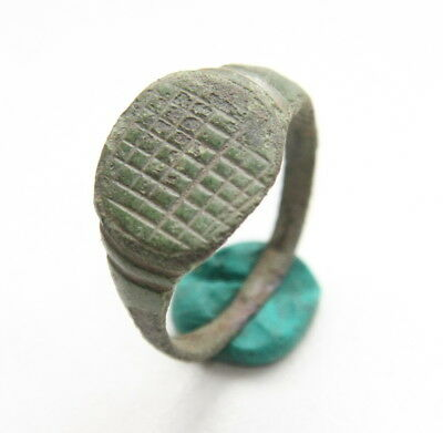 Ancient Medieval Ornament Bronze Finger Ring (JAN55)