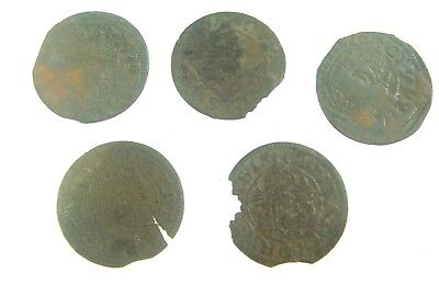 Lot of 5 Old Medieval Livonia Riga Shilling Silver Coins 4x1575 1x157x  Nr. 9175