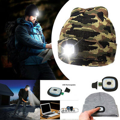 Unisex LED Beanie Hat With USB Rechargeable Battery 5 Hours High Powered Light L