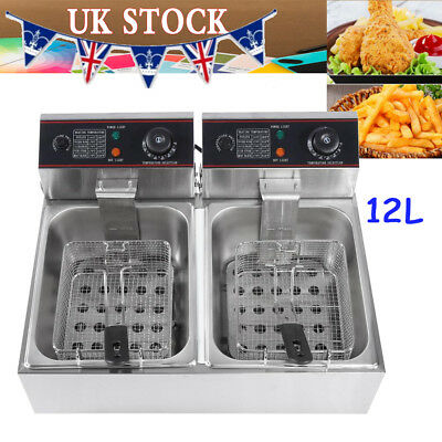 Stainless Steel Double Tank Deep Fat Food Fryer 12 Litre Healthy Cooker 2 Basket