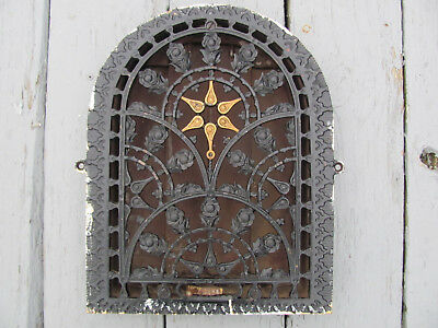 "Vintage Cast Iron Register Vent Grate Arch Dome Top Floral Victorian 14""H by 11"""