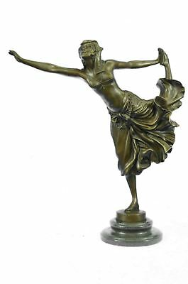 "EGYPTIAN DANCER Bronze Figure by Claire Jean Robert Colinet 16"" x 13"" (Brown)"