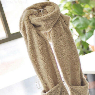Gloves With Pocket Fluffy Hood Scarf Earflap Hat Winter Warm Ladies Scarves