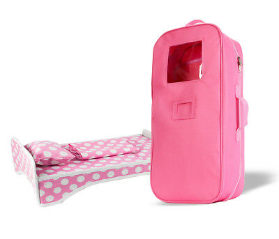 18 Inches Doll Travel Carrying Case & Bed, Bedding Accessories Gift Set