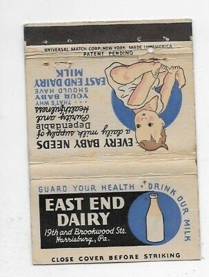 Vintage Matchbook Cover EAST END DAIRY Harrisburg PA S5355