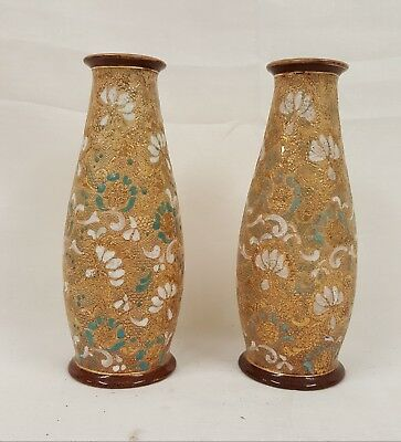 Pair Of 8 Inch Royal Doulton Slater Patent Vases