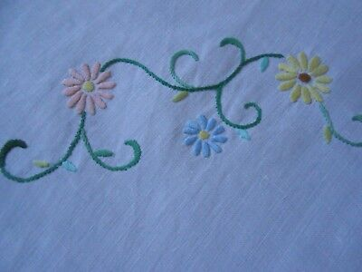 Beautiful Crisp White Vintage Linen Hand Embroidered Tablecloth