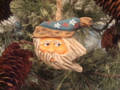 Hand Carved Basswood Heirloom Striped Hat Santa Christmas Ornament  By Salinas