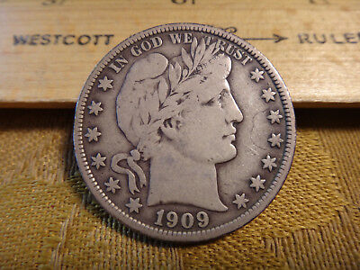 1909 United States Barber Silver Half Dollar 50c - Free S&H USA
