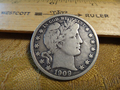 1909-O United States Barber Silver Half Dollar 50c - Free S&H USA