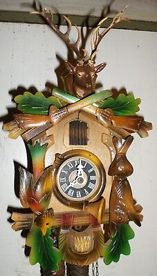 Very Nice Lightly Used Old German Black Forest Carved Hunter Deer Cuckoo Clock!