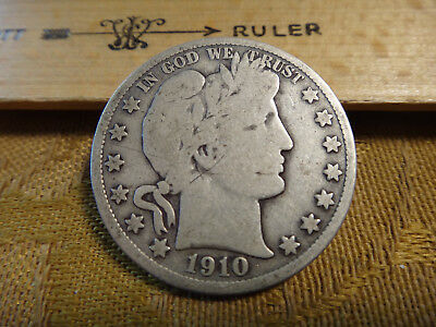 1910 United States Barber Silver Half Dollar 50c - Free S&H USA