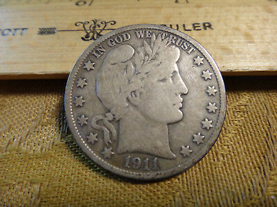1911-S United States Barber Silver Half Dollar 50c - Free S&H USA