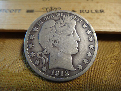 1912 United States Barber Silver Half Dollar 50c - Free S&H USA