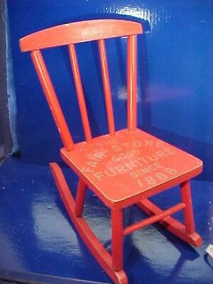 Early 20thc CHILD-DOLL Size Wood ADVERTISING ROCKING CHAIR Fair Store FURNITURE