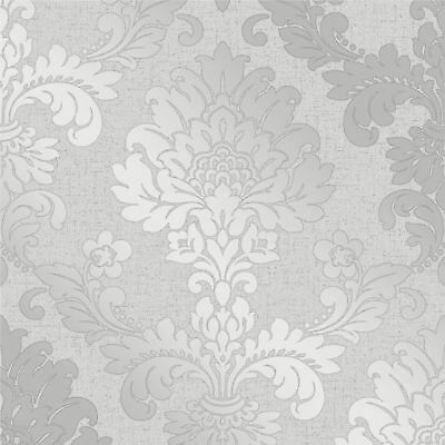Quartz Damask Wallpaper Silver - Fine Decor Fd41965 Glitter