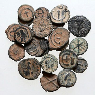 Top Lot of 25 late Roman and Byzantine Pentanummium bronze coins , partial clean